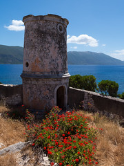 Venetian Lighthouse (Rupert Brun) Tags: flowers lighthouse holiday greek ruin may greece venetian kefalonia fiscardo ionian cefalonia 2013