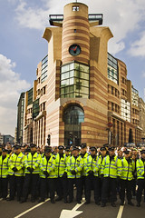 Protecting the bankers (DavidHowarthUK) Tags: city building london protest demonstration g20 april2009