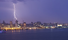 Lightning over New York City July 2013 (Anthony Quintano) Tags: nyc newyorkcity storm weather skyline july hudsonriver wtc lightning 2013 oneworldtrade
