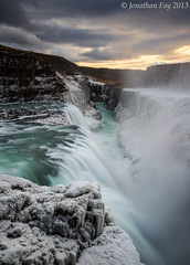 Gullfoss Sunset, Iceland (Jonny Fay) Tags: blue winter sunset vacation sun mist mountain snow green ice clouds creek river landscape flow march waterfall iceland nikon scenery power view teal tripod 03 filter 09 lee nd icicle vista 24mm resin railing filters 06 powerful gullfoss f4 gitzo graduated density 120mm d800 neutral gnd 24120 neutraldensity 2013 3stop 1stop 2stop 36mp graduatedneutraldensity leefilters nikond800 36megapixels 24120mmf4 36megapixel