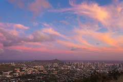 Honolulu Skyline Painting (rayman102) Tags: sunset clouds hawaii oahu honolulu diamondheadcrater mounttantalus