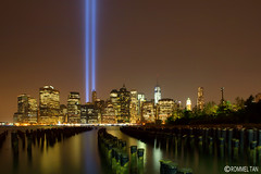 911 Tribute in Light (rtanphoto) Tags: nyc newyorkcity longexposure nightphotography vacation blackandwhite panorama building night photoshop canon worldtradecenter 911 empirestate wtc grayscale bigapple tributeinlight touristattractions niksoftware ononesoftware rommeltan rtanphoto wwwrommeltanphotographycom touristsouvenirbook