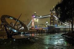 a wet night by the river thames (ho_hokus) Tags: uk nightphotography bridge england sculpture london wet rain night towerbridge unitedkingdom sundial timepiece raining x20 wendytaylor 2013 fujix20 fujifilmx20