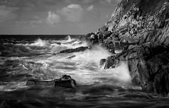 Petrel Sea (Raggedjack1) Tags: blackandwhite storm cornwall cliffs atlanticocean roughsea cotvalley
