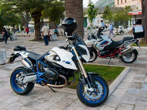 BMW HP2 Megamoto & a R1200 GS Rallye in Kotor, Montenegro - 2013