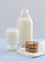 Milk and cookies (Daniel Hurst Photography) Tags: stilllife food cup glass cookies vintage dessert baking milk bottle cookie drink sweet chocolate stack dairy liquid chocolatechip ingredient milkbottle