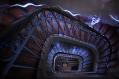 Ghost in my stairs (alex notag) Tags: light lightpainting stairs pose painting stair long exposure ghost escalier fantme escaliers longue ectoplasme ctoplasme