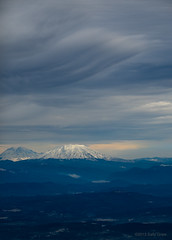 Mt St Helens and Mt Rainier (Xipitipix) Tags: mountain storm washington aerial mount rainier cascades pacificnorthwest aerialphoto sthelens mtsthelens