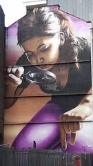 giant lady (byronv2) Tags: woman streetart building girl architecture giant graffiti scotland mural glasgow cleavage giantwoman mitchellstreet