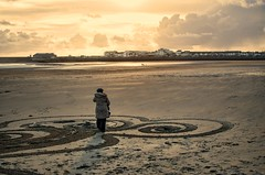 SG Spring equinox 20140322_193 (Mooganic) Tags: uk sky art beach wales coast spring sand cymru celebration shore land equinox siobhan porthcawl vision:sunset=0864 vision:sky=0756 vision:clouds=0776