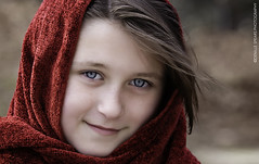 Olette (denillespears) Tags: girl young red scarf canon markiii portrait child innocence innocent blue eyes