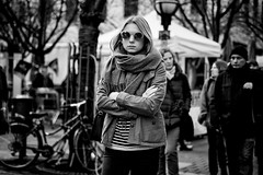 (graveur8x) Tags: woman candid street portrait frankfurt germany deutschland streetphotography strase girl sunglasses look blond people jacket outdoor outside blackandwhite schwarzweis monochrome bw city scarf dof canon canoneos6d 6d canonef2870mmf28lusm sceptical