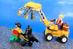 Run Robin Run! (Lesgo LEGO Foto!) Tags: lego minifig minifigs minifigure minifigures collectible collectable legophotography omg toy toys legography fun love cute coolminifig collectibleminifigures collectableminifigure batman bat robin joker excavator moc