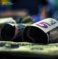 Low Roller (Hi-Fi Fotos) Tags: cash money five dollar bill roll 5 bokeh small change paper number nikon d5000 35mm f18 hififotos hallewell