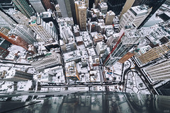 Looking down Gehry (svvvk) Tags: rooftop rooftopping roofs gehry nyc new york city cityscape snow svvvk lookdown 14mm canon 6d