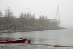 Summer is delayed (STTH64) Tags: bridge boat red spring snow water ice negativespace vaasa finland sea seaside