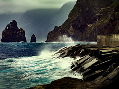barriers (tommy1905195) Tags: madeira sea shore harbor barrier waves water island rocks 180mm