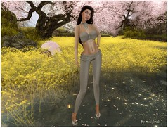 It's Cherry Blossom time! (Moni Carissa) Tags: groupgift fitmesh 7deadlyskins mesh maitreya pants omega top shoes high heels slink bento catwal hair petou photography sim