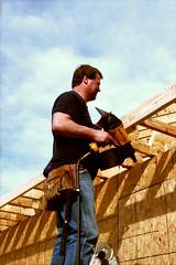 Mark, Missouri Avenue (John J. Genna) Tags: construction framing house roof powertool nailgun rebuilding restoration volunteer tornadorelief missions shorttermmissions christian konicacenturiasuper100 ns
