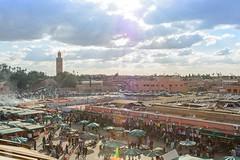 Big Square Djemaa El Fna (jennifer.stahn) Tags: travel travelphotography marrakech marrakesch marocco marokko maroc djemaaelfna djemaa el fna cityscape koutoubia mosque moschee square reise niceview nikon jennifer stahn
