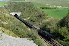 Braunton at Bincombe (philwakely) Tags: bulleidpacific bulleid rebuilt westcountry battleofbritain 34046 braunton 34052 lorddowding bincombe bincombetunnel weymouth steam mainlinesteam locomotive railway railways rail railtour trains train tunnel