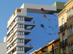 Mirage (Andy WXx2009) Tags: architecture modern building surreal artistic feature city almeria skyline cityscape streetphotography structure espana sunlight europe colours kites graffiti wall windows sky tower spain urban illusion outdoors