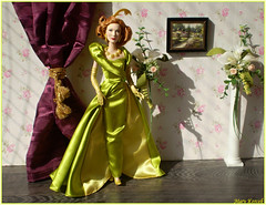 Blanche (Mary (Mária)) Tags: barbie mattel disney cinderella lady tremaine green yellow flowers elegant scene diorama rose ball cateblanchett ginger actress mary playline doll model