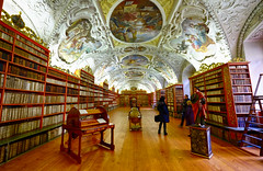 Monastery Library in Prague, Czech Republic (` Toshio ') Tags: toshio prague czechrepublic czechia europe european europeanunion library history books architecture interior people strahovmonastery abbey painting desk fujixe2 xe2