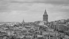 Galata Tower Istanbul (Ibraheem Kurdieh) Tags: istanbul turkey turkish tourism tour buildings uniqueaward explore sky skytheme lumix old photography panasoniclumixfz300 flickr12days fz300 fz330 tower city landscape blinkagain black blackwhite blackandwhite
