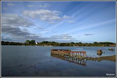 Forton Lake wreck (FryFotos) Tags: sky boat water rust hull cloud blue reflection nikon lake creek wreck