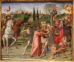 Good Friday IV - Jesus Carries His Cross to Calvary (Lawrence OP) Tags: biblical passion washingtondc nationalgallery predella painting medieval cross viacrucis