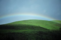 Rainbow<>Arc-en-ciel. (France-♥) Tags: 523 arcenciel rainbow verdure green hill nature fence cloture ciel sky wonderfulworld