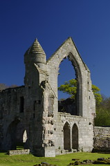 Arch and turret (Sundornvic) Tags: ruins abbey haughmondabbey stone destruction broken arches walls sun shine spring sunshine sky blue countryside heritage