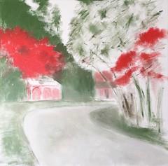 Bright Tree at Long Hill (Oil Bar Painting as of April 23, 2017) (randubnick) Tags: art painting oilbarpainting oilbars longhillgardens beverlyma autumn fall october carriagehouse