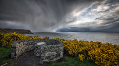 Viewpoint (avaird44) Tags: shower evening gamrie aberdeenshire scotland viewpoint gorse cliffs sea coast seascape sky clouds moody canon 6d