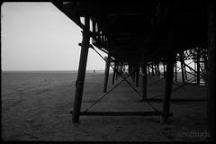 Under St Annes Pier (Jeff Ascough) Tags: leica leicam6 filmphotography film ilfordxp2 pier lythamstannes dailylife streetphotography street beach sand walking blackandwhite