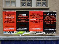 Allez voter ! Propagande électorale (avril 2017) (Archi & Philou) Tags: élections propagande publicité affiche poster paris03 macron hamon mélenchon déménagement desbrasenplus