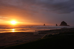Oregon Sunset (KC Mike D.) Tags: sunset coast coastline oregon rock haystack haystackrock ocean pacific water sea waves clouds sand beach stream needles monolith formation storms