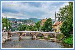 Latin Bridge, Sarajevo (Danny~F) Tags: city bridge blue trees houses sky people mountains tree green water river flow europe cityscape sarajevo bosnia gray mosque hills latin herzegovina
