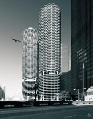 Marina City (@archphotographr) Tags: chicago tower monochrome architecture illinois downtown towers historic architect chicagoriver residential complex bertrandgoldberg marinatower ©hassanbagheri ©hbarchitectural