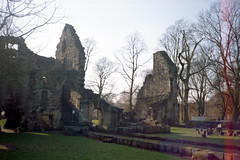 Kirkstall Abbey (Saturated Imagery) Tags: film 35mm iso200 leeds vintagecamera kirkstallabbey konicac35efp ferraniasolaris200 epsonv500 agphotographic photoshopelements9