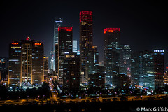 Living in the CBD (Mark Griffith) Tags: china city nightphotography roof night beijing cbd centralbusinessdistrict 24thfloor 20130617dsc65882