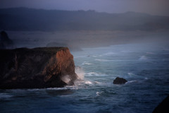 Grinding Surf-Rock to Sand _6509 (hkoons) Tags: ocean sunset sea mist beach northerncalifornia evening coast sand surf waves pacific wind salt pacificocean coastal seashore saltwater californiacoast mendocinocounty pacificocean seabreeze