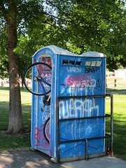When ya gotta go... (jamica1) Tags: park canada bicycle graffiti portable bc ben okanagan toilet columbia lee british kelowna