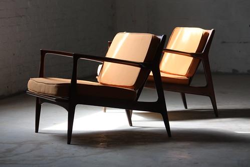 Dizzying Danish Mid Century Modern Ib Kofod Larsen Lounge Chairs for Selig (Denmark, 1960's)