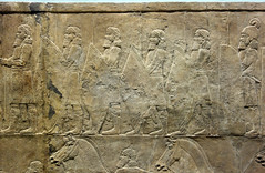 Lion Hunts of Ashurbanipal, soldiers with conical shields (profzucker) Tags: sculpture london art ancient iraq lion palace relief beginning britishmuseum gypsum tigris mosul hunt assyrian excavated ashurbanipal neoassyrian ninevah rassam 645bce