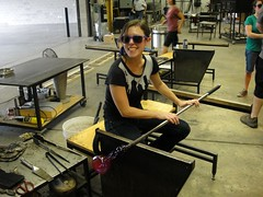 . (Kate Hedin) Tags: blue chicago art cup glass jack fire cut pipe blowing il flame flare vase tongs furnace studios gaffer shard liquid cobalt molten shears blower tweezers ignite fritt malleable putny