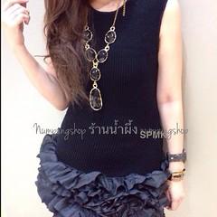 """Code 520A Sleeveless knitted rosette trimmed dress เดรสนิตแขนกุด ช่วงกระโปรงจับเดรปเย็บระบายฟูเป็นดอกไม้แซมตลอดทั้งตัว โชว์คัทติ้งสวยหรูดูมีสไตล์ที่สุด เป็นทรงปล่อย ใส่ดูดีทั้งสาวร่างเล็กหรือสาวอวบเลยค่ะ Size: S/M สีดำ อก32""""-42""""/34""""-44"""" สะโพก40""""/42"""" ยาว38"""