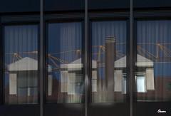 Ventana sobre ventana (Oscar F. Hevia) Tags: espaa reflection cortina window glass ventana spain crane curtain asturias reflejo oviedo grua cristal ventanal ofh