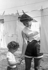 Hanging Laundry, 1955 (Sidney Kirschner // picturesfromgrandpa.com) Tags: family blackandwhite vintage laundry 1950s